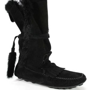 YSL Suede Leather Rabit Fur Boots/Booties